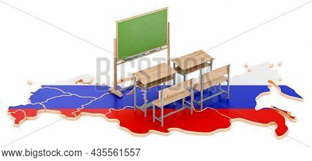 Education In Russia, Concept. School Desks And Blackboard On Russia Map. 3d Rendering Isolated On Wh