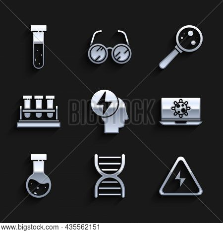 Set Head And Electric Symbol, Dna, High Voltage Sign, Bacteria On Laptop, Test Tube Flask Chemical,