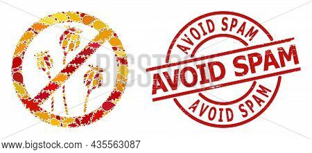 Stop Poppy Plants Collage Icon Constructed For Fall Season, And Avoid Spam Unclean Seal. Vector Stop
