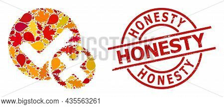 False Positive Mosaic Icon Done For Fall Season, And Honesty Scratched Stamp Print. Vector False Pos