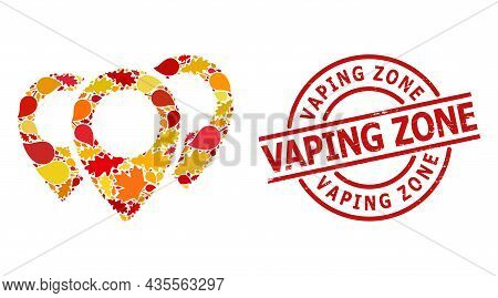 Map Pointers Mosaic Icon Constructed For Fall Season, And Vaping Zone Grunge Seal. Vector Map Pointe