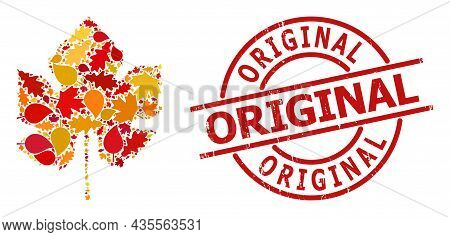 Grape Leaf Composition Icon Constructed For Fall Season, And Original Grunge Stamp Imitation. Vector