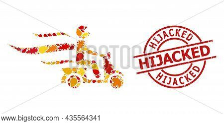 Fast Motorbike Courier Mosaic Icon Combined For Fall Season, And Hijacked Corroded Stamp. Vector Fas