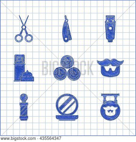 Set Towel Rolls, Makeup Powder With Mirror, Barbershop, Mustache And Beard, Classic Pole, Shaving Ge