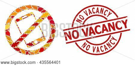 Forbid Smartphone Collage Icon Designed For Fall Season, And No Vacancy Rubber Stamp Seal. Vector Fo