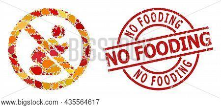 Forbid Praying Man Mosaic Icon Organized For Fall Season, And No Fooding Rubber Stamp. Vector Forbid