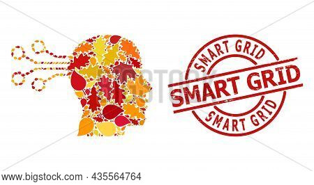 Mind Interface Mosaic Icon Combined For Fall Season, And Smart Grid Scratched Stamp Seal. Vector Min