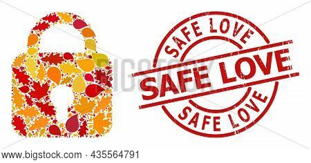 Lock Mosaic Icon Constructed For Fall Season, And Safe Love Scratched Stamp Seal. Vector Lock Mosaic