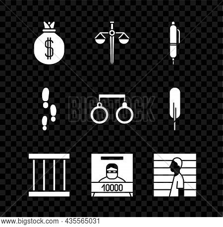 Set Money Bag, Scales Of Justice, Pen, Prison Window, Wanted Poster, Suspect Criminal, Footsteps And