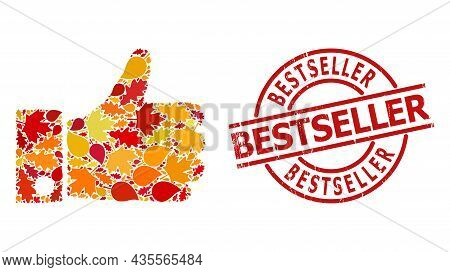 Thumb Up Mosaic Icon Designed For Fall Season, And Bestseller Dirty Stamp Print. Vector Thumb Up Mos