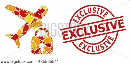 Locked Airplane Mosaic Icon Created For Fall Season, And Exclusive Unclean Stamp Seal. Vector Locked