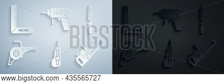 Set Stationery Knife, Chisel Tool For Wood, Leaf Garden Blower, Chainsaw, Electric Drill Machine And