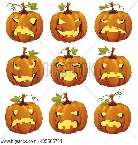 Halloween Cartoon Pumpkins Faces. Vector Illustration Set. Halloween Pumpkin Element Collection In S
