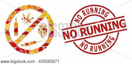 Forbid Addiction Drugs Mosaic Icon Designed For Fall Season, And No Running Dirty Seal. Vector Forbi