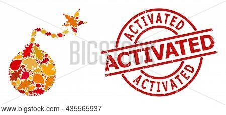 Bomb Ignition Mosaic Icon Designed For Fall Seasonwith Activated Grunge Stamp Imitation. Vector Bomb