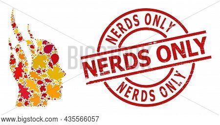 Brain Steam Mosaic Icon Designed For Fall Season, And Nerds Only Grunge Stamp Seal. Vector Brain Ste