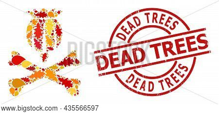 Mortal Opium Mosaic Icon Combined For Fall Season, And Dead Trees Scratched Stamp Print. Vector Mort