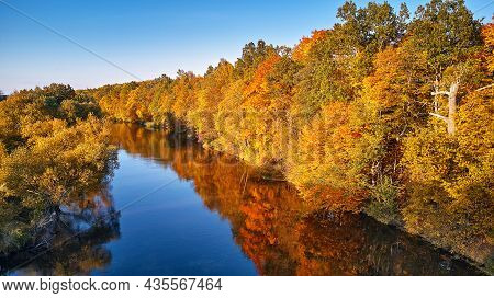 Autumn Sunny Landscape, Rural Aerial Scene - Stock Photo. Fall Colorful Trees Reflecting In Water, P