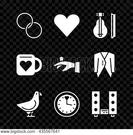Set Wedding Rings, Heart, Violin, Dove, Clock, Home Stereo With Two Speakers, Coffee Cup And Heart A