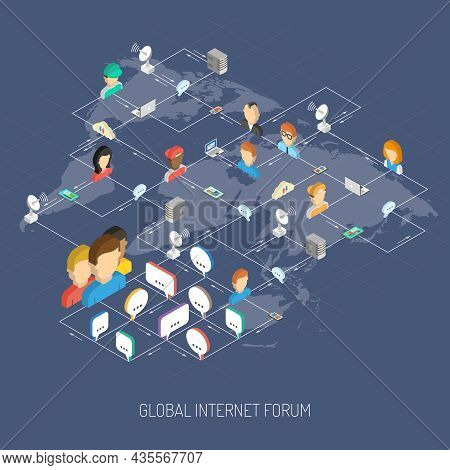 Internet Forum Concept With Isometric People Avatars Speech Bubbles And World Map Vector Illustratio