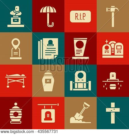 Set Christian Cross, Grave With Coffin, Tombstone, Speech Bubble Rip Death, Death Certificate, Locat