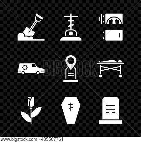 Set Shovel In The Ground, Grave With Cross, Crematorium, Flower Rose, Coffin, Tombstone, Hearse Car