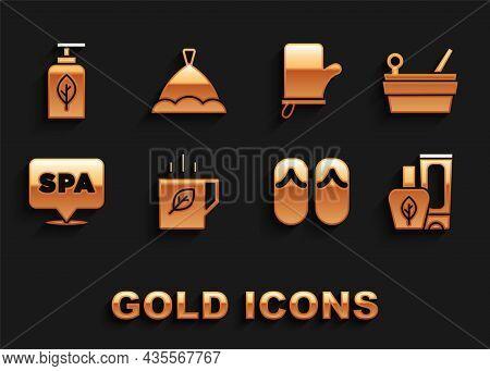 Set Cup Of Tea And Leaf, Sauna Bucket Ladle, Ointment Cream Tube, Flip Flops, Spa Salon, Mittens, Es