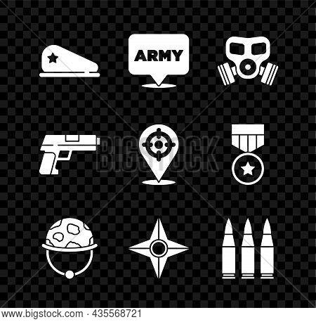 Set Military Beret, Army, Gas Mask, Helmet, Japanese Ninja Shuriken, Bullet, Pistol Or Gun And Targe