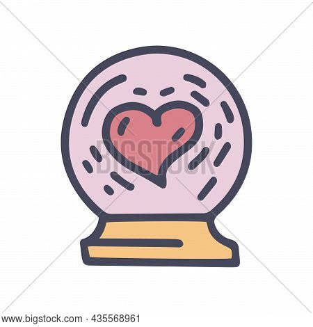 Glass Crystal Ball With Heart Color Vector Doodle Simple Icon