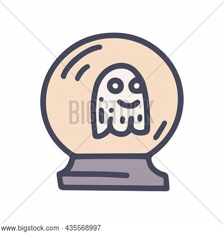 Crystal Ball With Ghost Color Vector Doodle Simple Icon