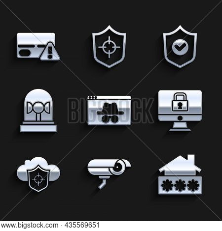 Set Browser Incognito Window, Security Camera, House With Password, Lock On Monitor, Cloud And Shiel