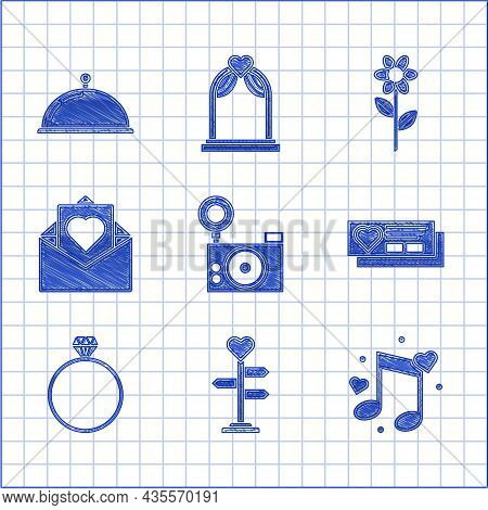 Set Photo Camera, Signpost With Heart, Music Note, Tone Hearts, Ticket, Diamond Engagement Ring, Env