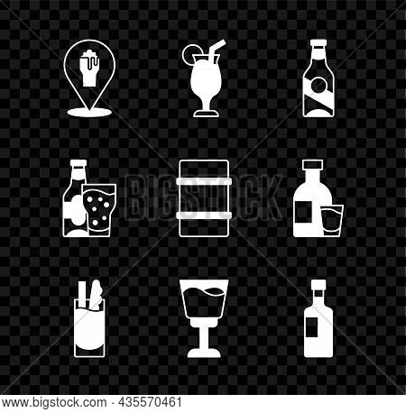 Set Alcohol Or Beer Bar Location, Cocktail, Beer Bottle, Bloody Mary, Wine Glass, And And Metal Keg