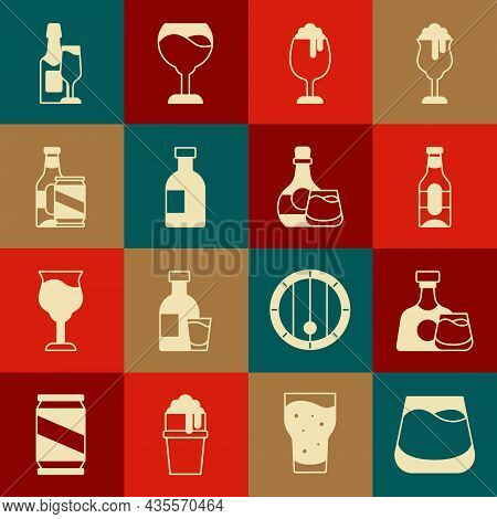 Set Glass Of Whiskey, Whiskey Bottle And Glass, Beer, Beer, Vodka, Can, Champagne And Icon. Vector