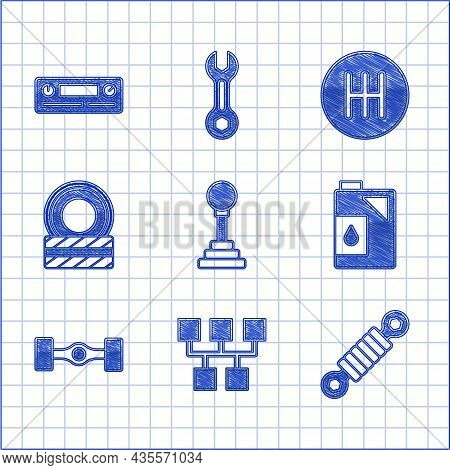 Set Gear Shifter, Shock Absorber, Canister For Motor Oil, Chassis Car, Car Tire Wheel, And Audio Ico