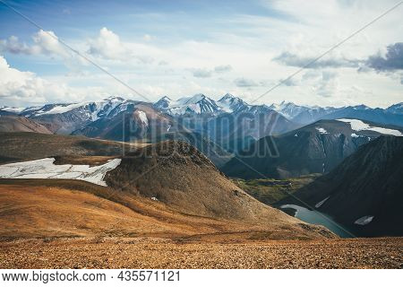 Scenic Highland Landscape With Turquoise Mountain Lake From Glacier And High Sharp Snowy Mountains T