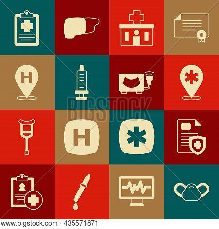 Set Medical Protective Mask, Patient Record, Location Hospital, Hospital Building, Syringe, And Ultr