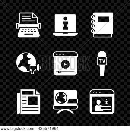 Set Retro Typewriter, Information, Notebook, News, Breaking News, World And Live Stream Icon. Vector
