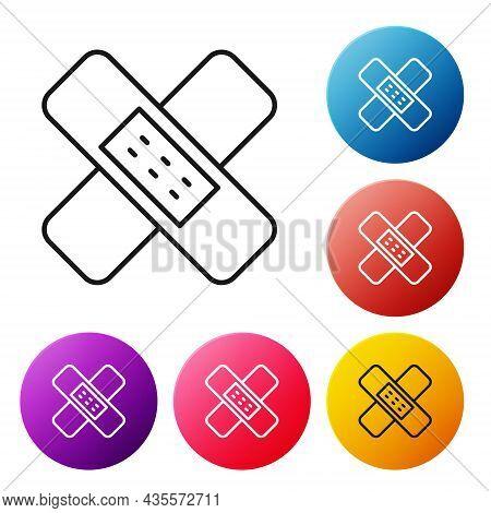 Black Line Crossed Bandage Plaster Icon Isolated On White Background. Medical Plaster, Adhesive Band