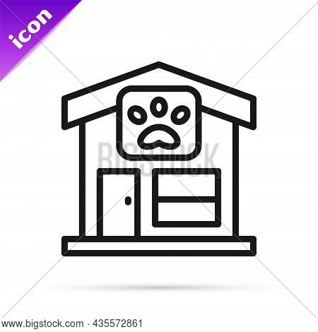 Black Line Pet Grooming Icon Isolated On White Background. Pet Hair Salon. Barber Shop For Dogs And
