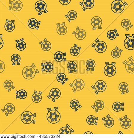 Blue Line Jewish Synagogue Building Or Jewish Temple Icon Isolated Seamless Pattern On Yellow Backgr