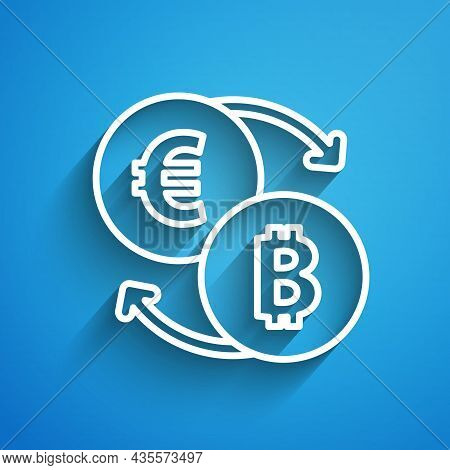 White Line Cryptocurrency Exchange Icon Isolated On Blue Background. Bitcoin To Euro Exchange Icon.