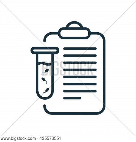 Sperm Test Result On Clipboard Line Icon. Sperm Medical Analysis For Paternity Or Infertility Outlin