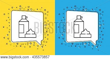 Set Line Whipped Cream In An Aerosol Can Icon Isolated On Yellow And Blue Background. Sweet Dairy Pr