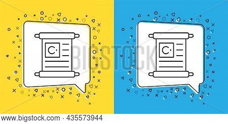 Set Line Holy Book Of Koran Icon Isolated On Yellow And Blue Background. Muslim Holiday, Eid Mubarak