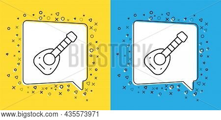 Set Line Musical Instrument Lute Icon Isolated On Yellow And Blue Background. Arabic, Oriental, Gree