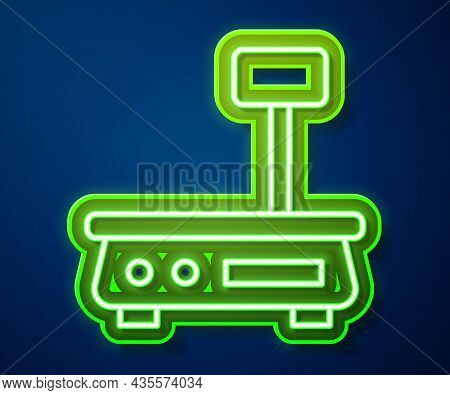 Glowing Neon Line Electronic Scales Icon Isolated On Blue Background. Weight For Food. Weighing Proc