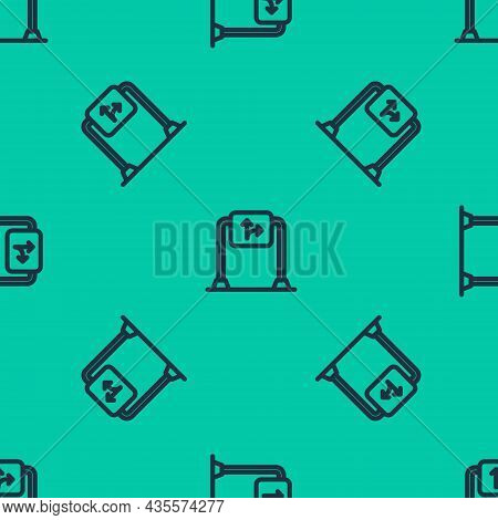 Blue Line Road Traffic Sign. Signpost Icon Isolated Seamless Pattern On Green Background. Pointer Sy