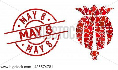 Rubber May 8 Stamp Seal, And Red Love Heart Mosaic For Opium Poppy Head. Red Round Seal Has May 8 Ca