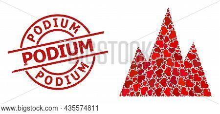 Rubber Podium Stamp Seal, And Red Love Heart Mosaic For Mountains. Red Round Stamp Seal Has Podium C
